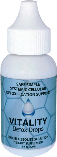 Vitality detox drops soluble Zeolite Solution bottle